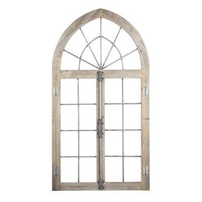 "28"" x 53"" Wood and Metal Arched Window Pane Door Wall Decor Antiqued Brown - American Art Decor"