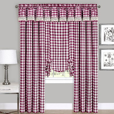 GoodGram Complete 6 Pc. Country Chic Plaid Window Curtain Treatment Set