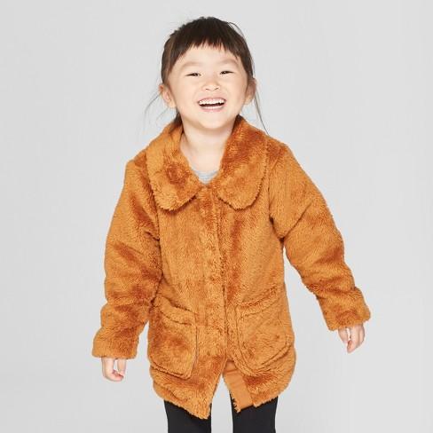 d0158fb5e3ef Toddler Girls  Faux Fur Jacket - Cat   Jack™ Brown   Target