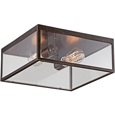 """John Timberland Modern Outdoor Ceiling Light Fixture Bronze 12"""" Square Clear Glass Damp Rated for Exterior House Porch Patio"""