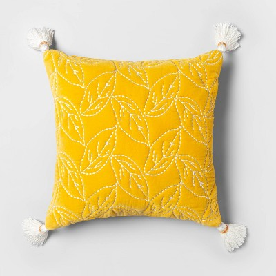 Square Quilted Leaf Pillow with Beaded Tassels Yellow - Opalhouse™