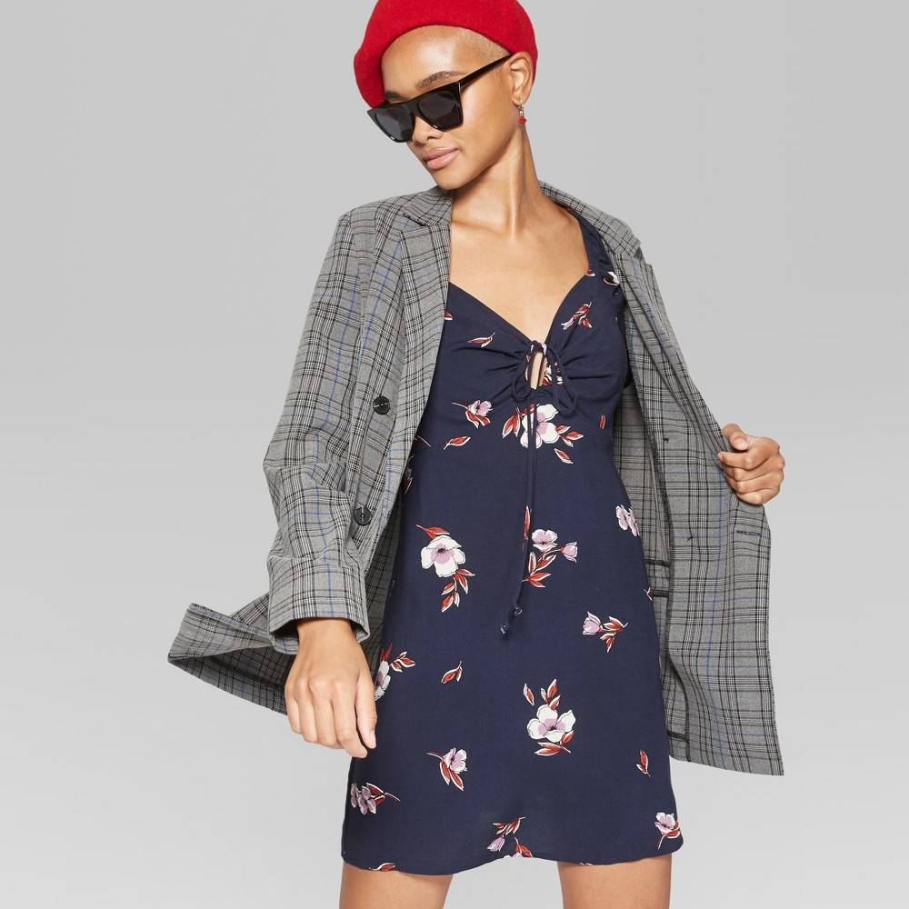 Women's Floral Print Tie Front Puff Sleeve Dress - Wild Fable Navy XS, Blue was $25.0 now $11.25 (55.0% off)