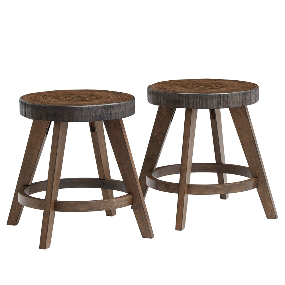 "Image of ""18"""" Set of 2 Jayden Rustic Stools Walnut Brown - Inspire Q, Size: 18 Inch"""