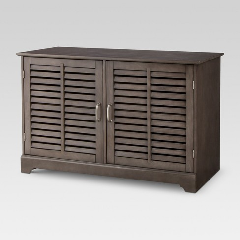 Shuttered Door Tv Stand Dark Gray Threshold Target