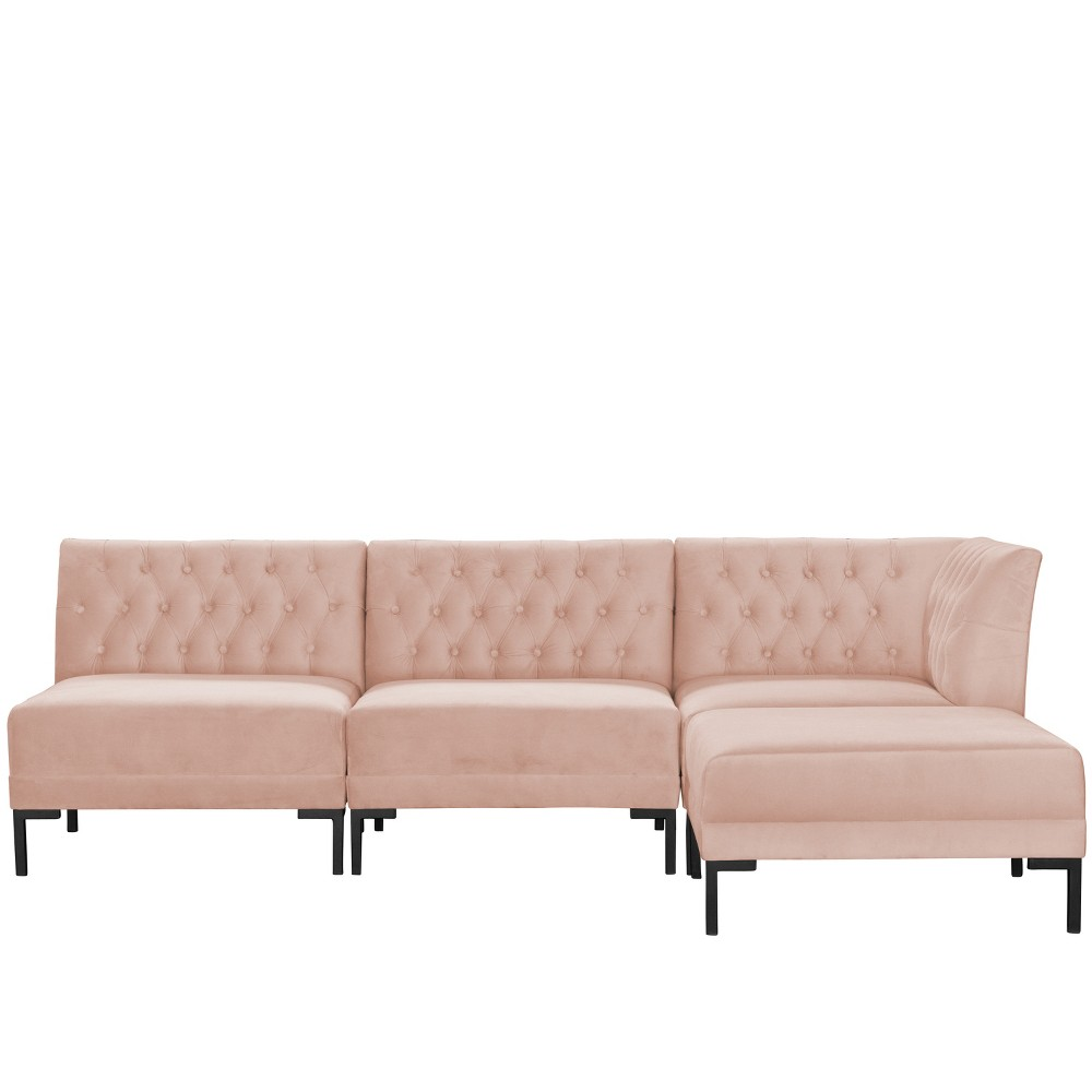 Image of 4pc Audrey Diamond Tufted Sectional Blush Velvet and Black Metal Y Legs - Cloth & Company