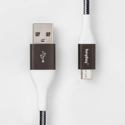 heyday™ 4' Micro USB to USB-A Braided Cable - Black/White/Gunmetal