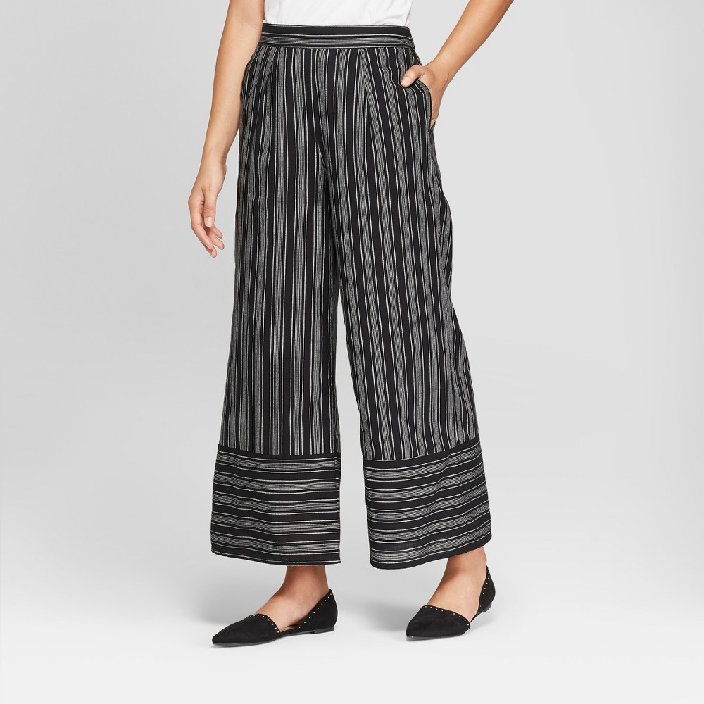 Women's Striped Wide Leg Pants - A New Day Black/White S