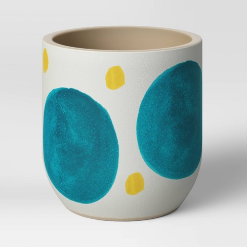 """4"""" Ceramic Stoneware Planter White with Blue/Yellow Dots - Project 62™ - image 1 of 3"""