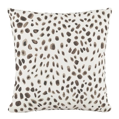 Polyester Washed Cheetah Pillow Square Cream Gray - Cloth & Company
