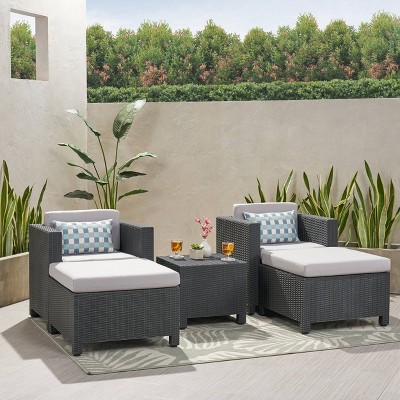 Waverly 5pc Faux Wicker Chat Set Dark Gray/Gray - Christopher Knight Home