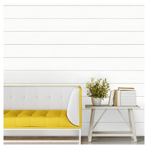 Devine Color Textured Shiplap L Stick Wallpaper Ultra White