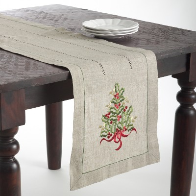 Saro Lifestyle Holiday Table Runner With Christmas Tree Embroidery