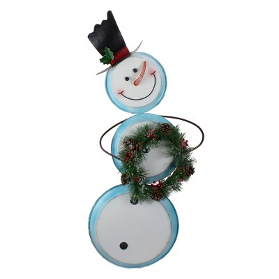 """Northlight 36"""" White and Blue Metal Snowman with Wreath Christmas Floor Decoration"""