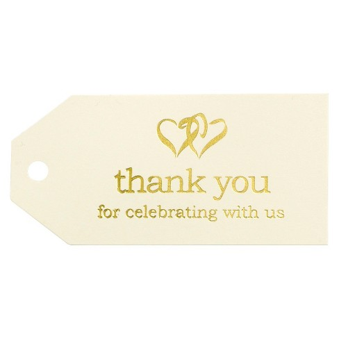 25ct Linked at the Heart Wedding Thank You Favor Cards - image 1 of 2