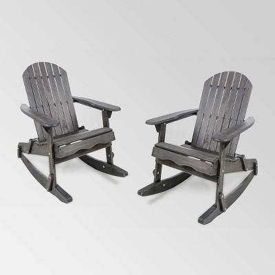 Malibu 2pk Acacia Wood Adirondack Rocking Chair - Christopher Knight Home