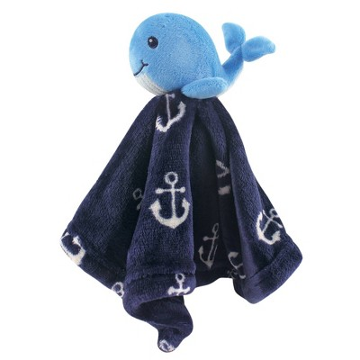 Hudson Baby Unisex Baby Animal Face Security Blanket - Boy Whale One Size
