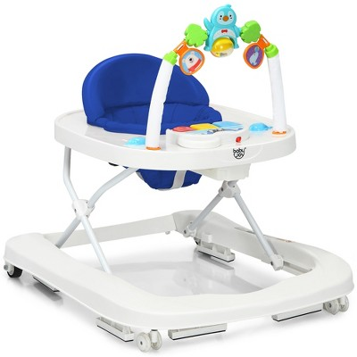 2-in-1 Foldable Baby Walker w/ Adjustable Heights & Detachable Toy Tray BlueGreyRed