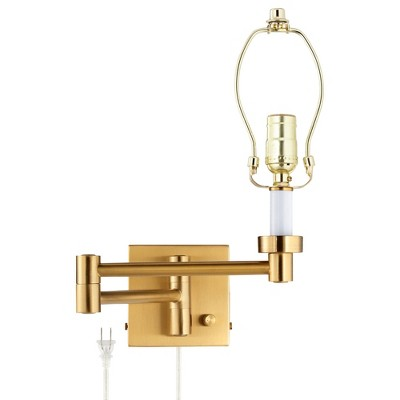 Barnes and Ivy Modern Swing Arm Wall Lamp Base Warm Antique Brass Plug-In Light Fixture for Bedroom Bedside Living Room Reading