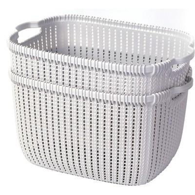 Basicwise Plastic Wicker Basket Grey