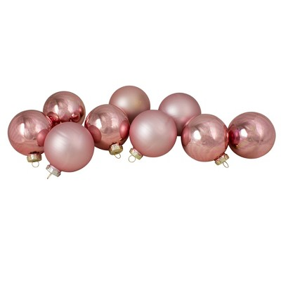 "Northlight 9ct Shiny and Matte Pink and Gold Glass Ball Christmas Ornaments 2.5"" (65mm)"