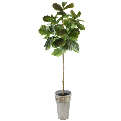 "68"" x 18"" Artificial Fig in Galvanized Pot - LCG Florals"