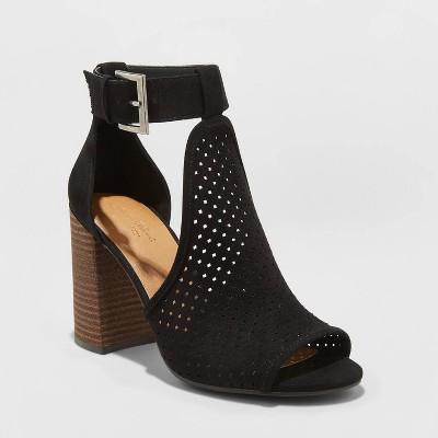 Women's Hannah Microsuede Perforated Block Heel Pumps - Universal Thread™ Black 7