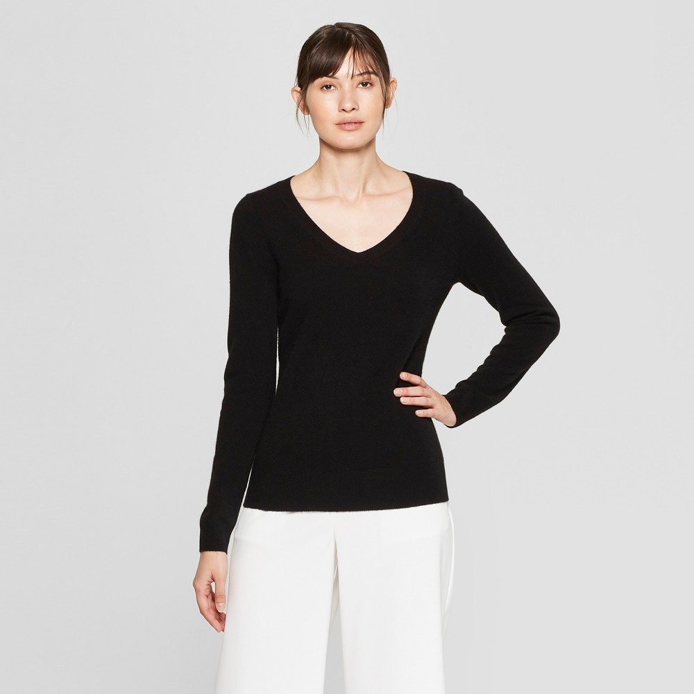 Women's Long Sleeve V-Neck Cashmere Pullover Sweater - Prologue Black XL