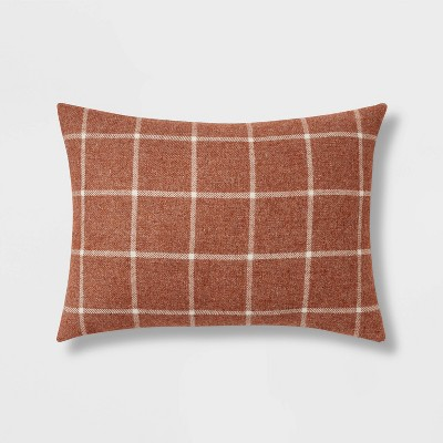 Windowpane Plaid Lumbar Throw Pillow Copper - Threshold™
