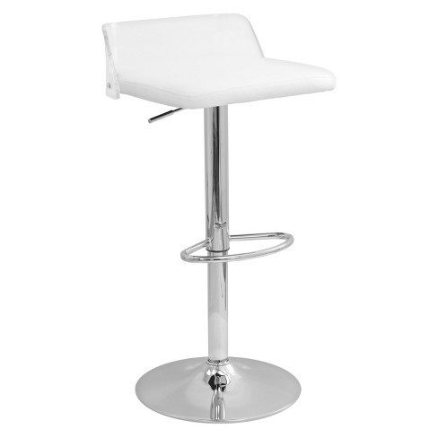 Arctic Contemporary Adjustable Barstool White - LumiSource - image 1 of 6
