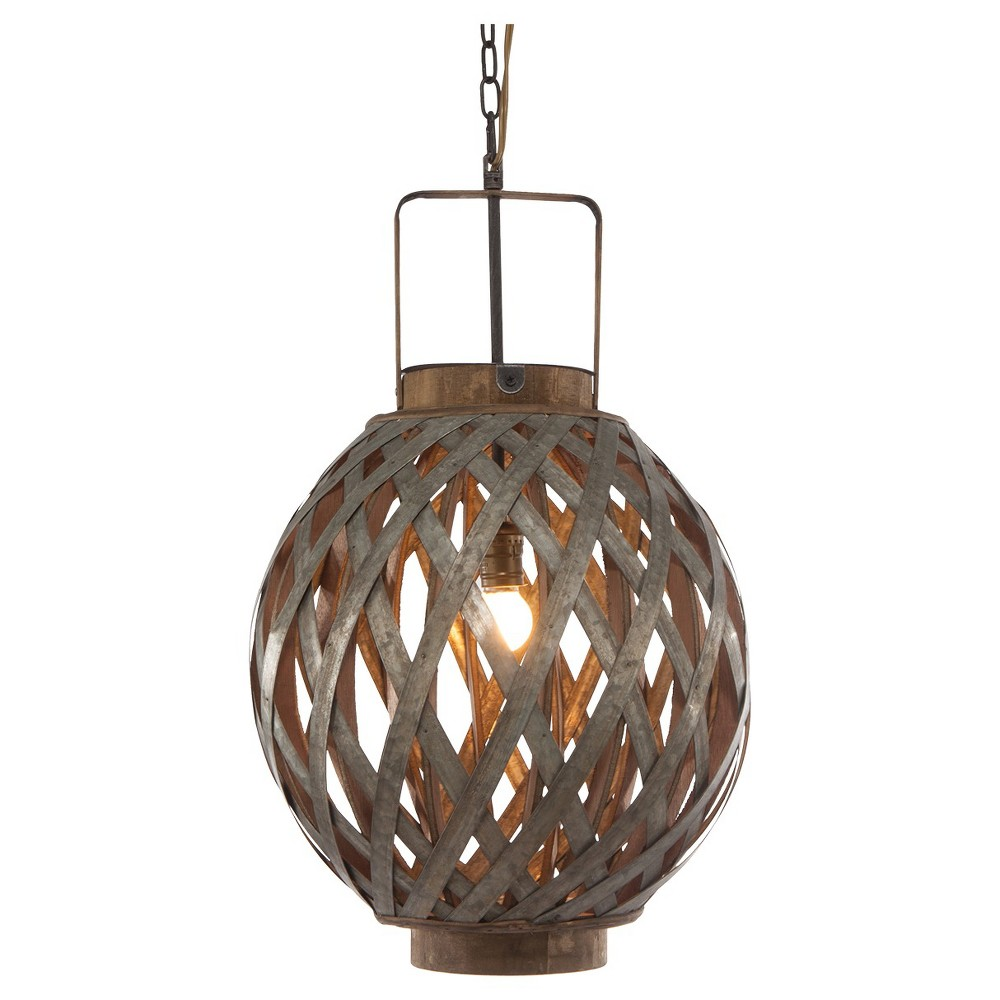 Image of A&b Home Round Wood Iron Pendant Lamp - Gray