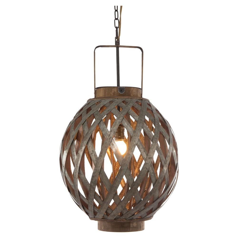 A&b Home Round Wood Iron Pendant Lamp - Gray