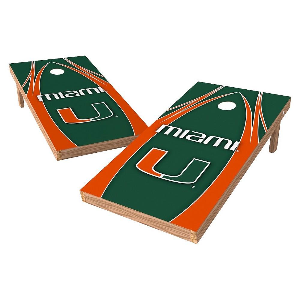 Miami Hurricanes Wild Sports 2' x 4' V Logo Design Authentic Cornhole Set