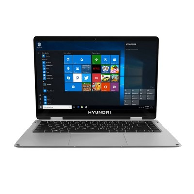 "Hyundai HyFlip 13.3"" Celeron Laptop, 4GB RAM, 64GB Storage, Expandable M.2 2280 SSD Slot, 2.0MP Camera, Windows 10 Home S Mode, WiFi, English - Silver"