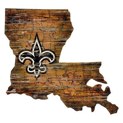 """NFL New Orleans Saints 12"""" State Map Wood Sign"""