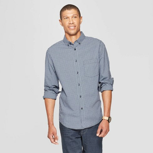 Men's Checkered Slim Fit Long Sleeve Northrop Poplin Button-Down Shirt - Goodfellow & Co™ Breaktime Blue - image 1 of 3