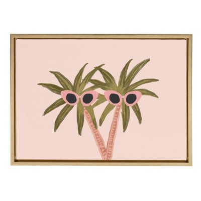 """18"""" x 24"""" Sylvie Palm Trees And Sun Framed Canvas By Kendra Dandy Gold - DesignOvation"""