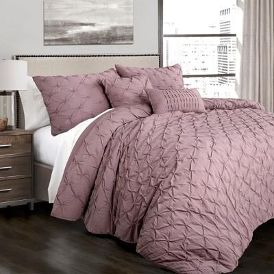 Full/Queen 5pc Ravello Pintuck Comforter Set Woodrose - Lush Décor