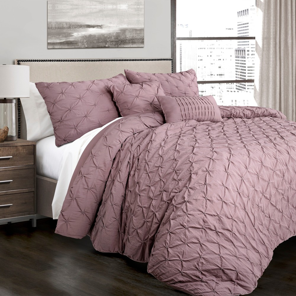 Full/Queen 5pc Ravello Pintuck Comforter Set Woodrose - Lush Décor Compare