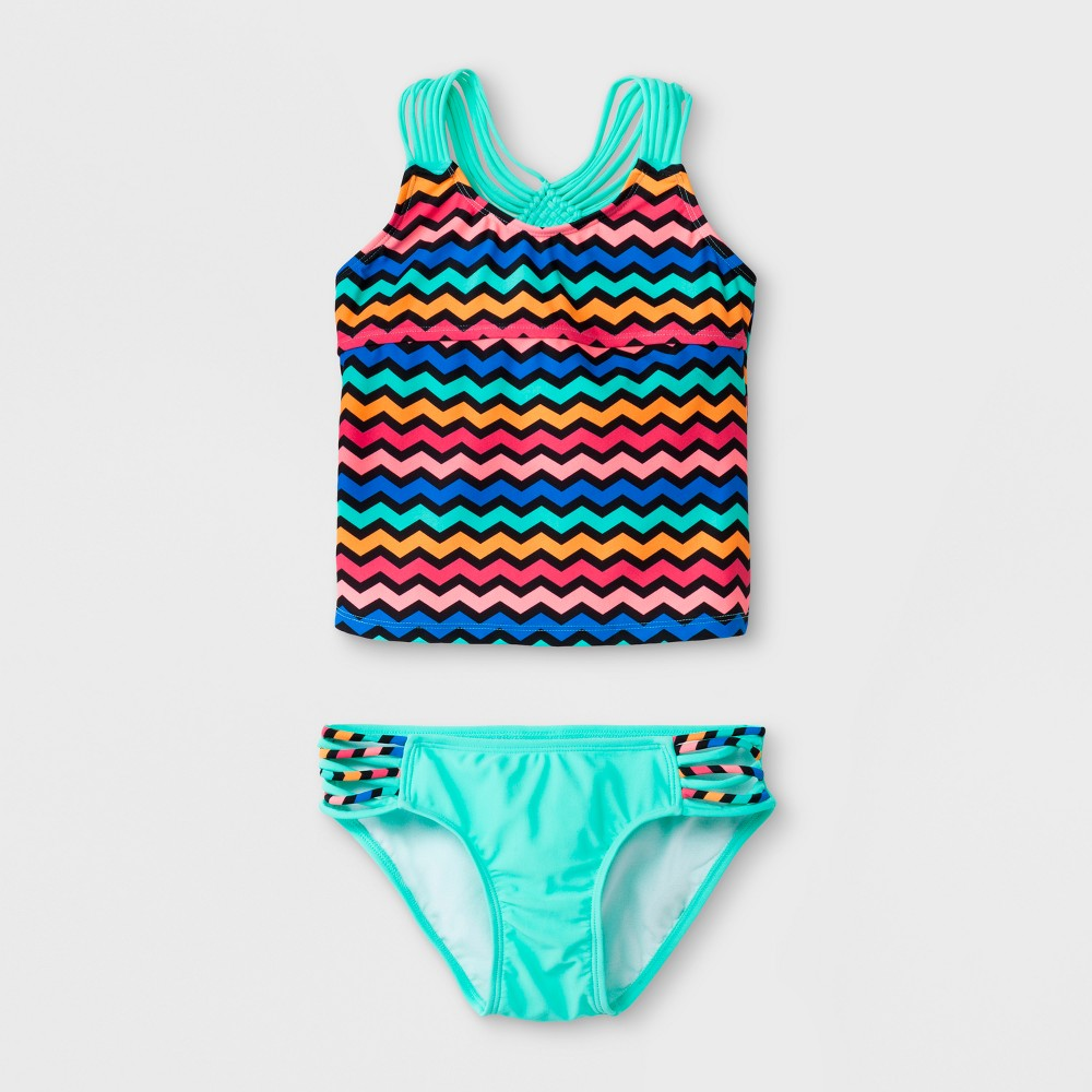 Malibu dream Girl Girls' Get Ziggy With It Tankini Set - 14.5, Multicolored