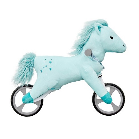 Asweets Kid's Animal Plush Toddler 20.5 Inch Tall Adjustable Training Balance Bike Ride On Toy, Ages 2 Years Old to 5 Years Old, Blue Horse - image 1 of 2