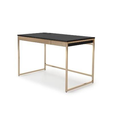 Paylen 2 Drawer Desk with USB Port Black/Copper - miBasics