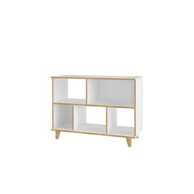 """25.78"""" Minetta 5 Shelf Mid Century Low Bookshelf White - Manhattan Comfort"""