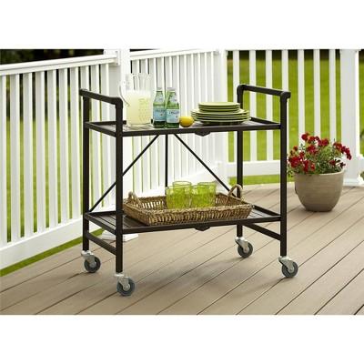 Indoor/Outdoor Folding Serving Cart Brown - Room & Joy