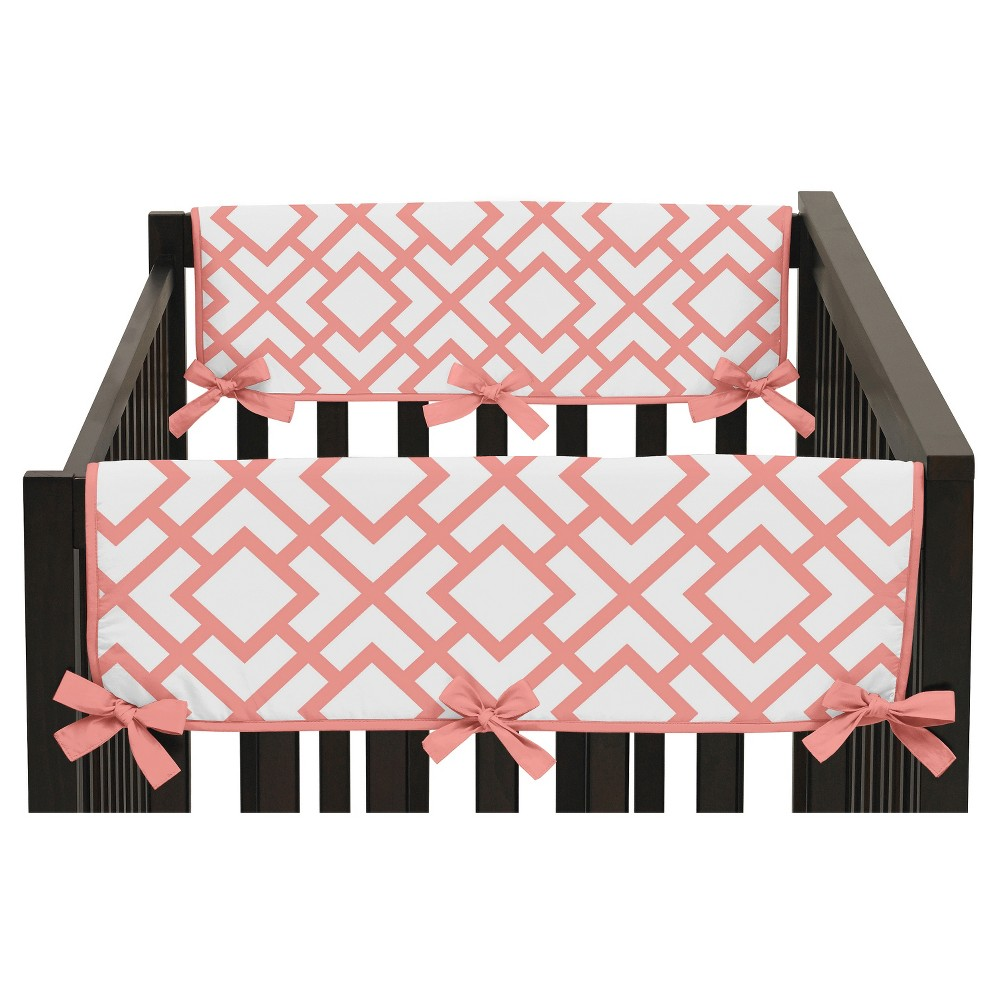 Sweet Jojo Designs Side Crib Rail Guard Covers - White & Coral Mod Diamond