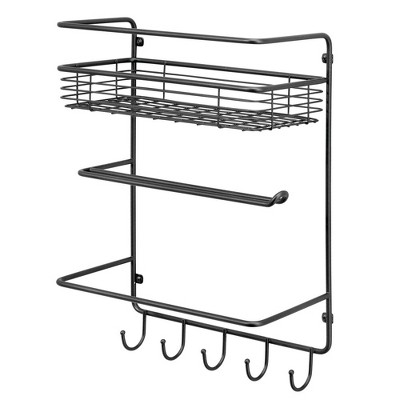 mDesign Metal Wall Mount Paper Towel Holder with Storage Shelf/Hooks