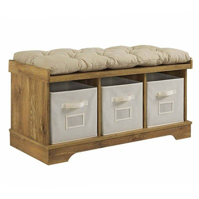42  Wood Storage Bench with Totes and Cushion - Barnwood - Saracina Home