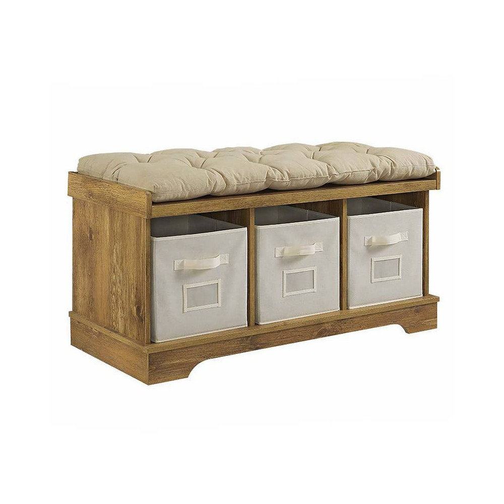 Marvelous 42 Wood Storage Bench With Totes And Cushion Barnwood Machost Co Dining Chair Design Ideas Machostcouk