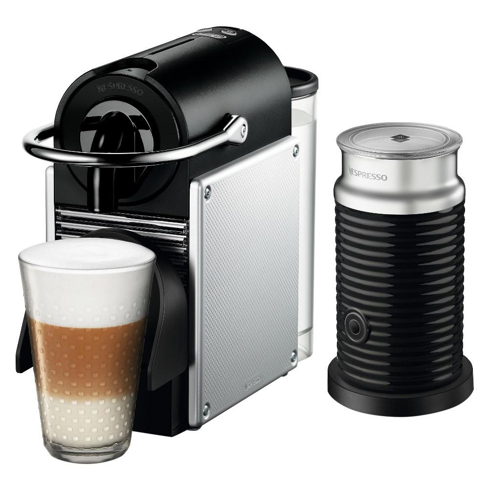 Nespresso Pixie Espresso Machine by De'Longhi with Aeroccino, Aluminum (Silver)
