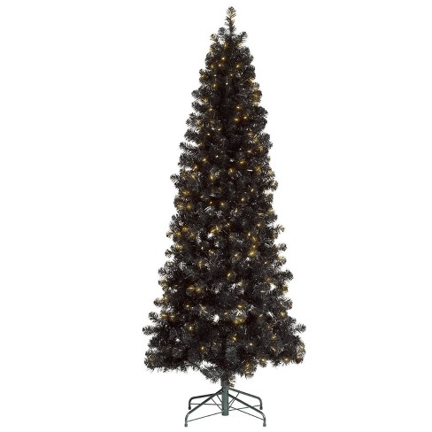 Christmas Tree.7ft Pre Lit Artificial Christmas Tree Shiny Black Slim Alberta Spruce Clear Lights Wondershop