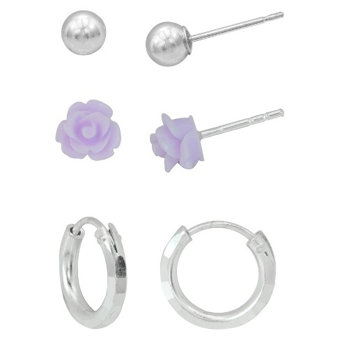 Girls' Sterling Silver 3PR-Ball/Lavender Rose/Diamond Cut Endless Hoop Earring Set - image 1 of 1